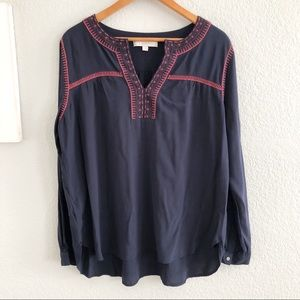 Loft Navy Embroidered Spit Neck Long Sleeve Blouse